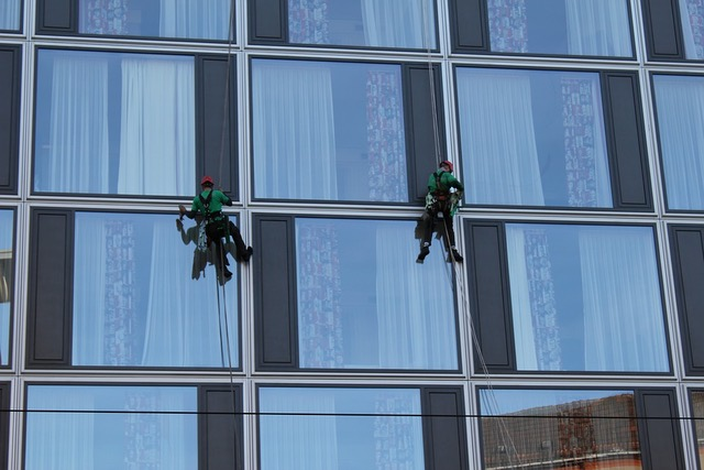 professional window cleaners during work